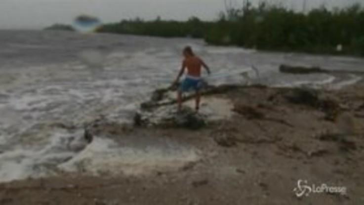 Dorian, l'uragano non spaventa il surfista: cavalca le onde sotto un cielo minaccioso