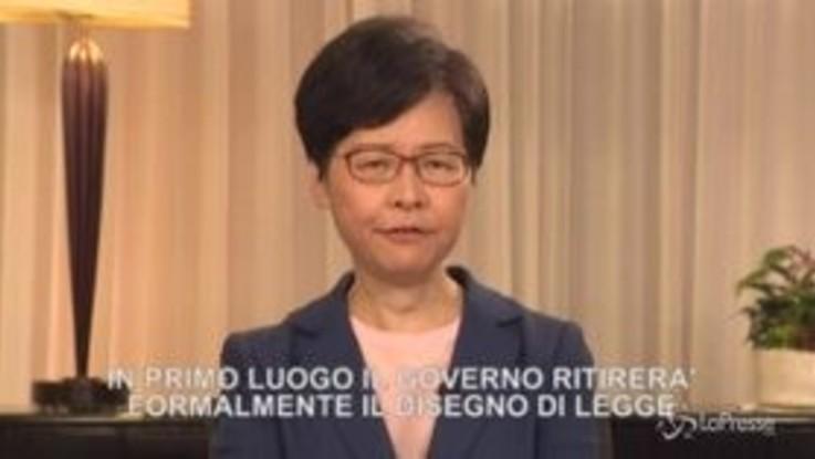 "Hong Kong, Lam: ""Legge su estradizioni in Cina sarà ritirata"""
