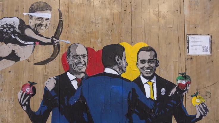 Murales a Roma: Renzi Cupido fa scoccare l'amore tra Conte, Di Maio e Zingaretti