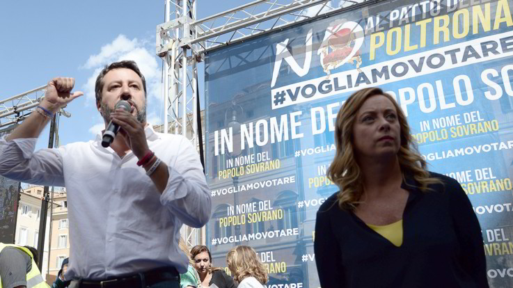 Lega e FdI in piazza contro il governo davanti a Montecitorio