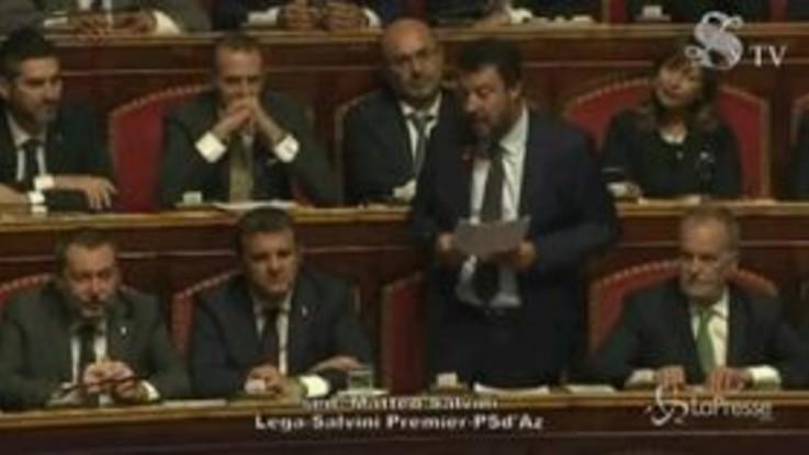 """Senato, Salvini: """"Governo legittimo ma abusivo"""""""
