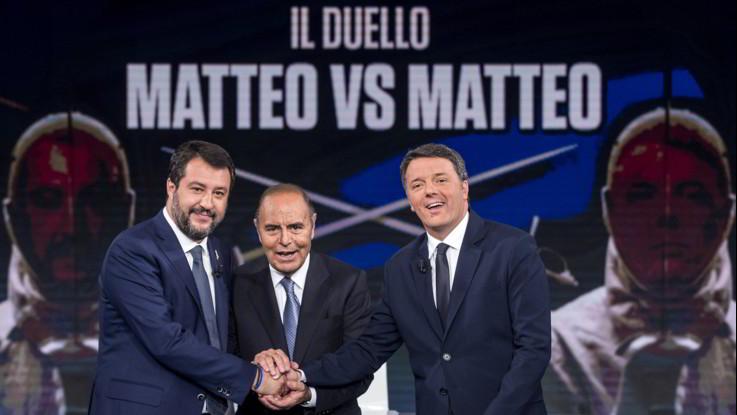 Renzi-Salvini da Vespa: dal Papeete a quota 100 il duello è al calor bianco