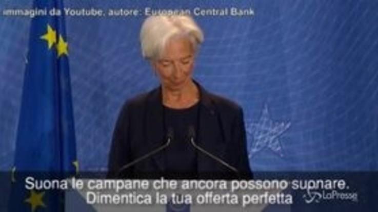 Bce: Lagarde lo omaggia citando Cohen e Draghi si commuove