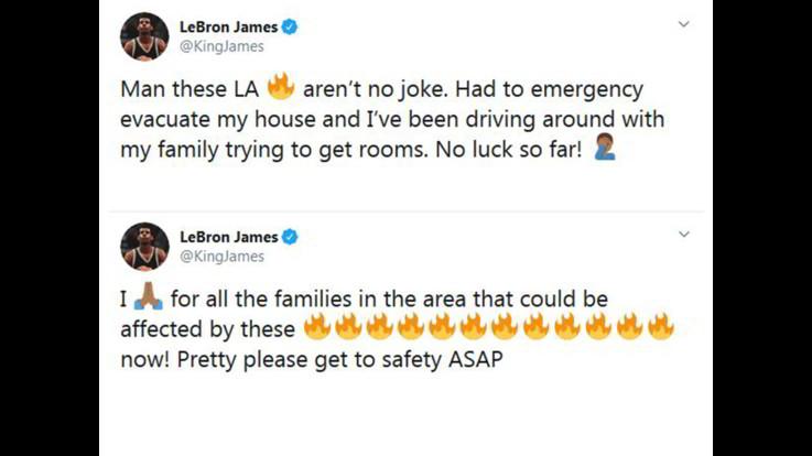 Anche LeBron James tra gli evacuati in California