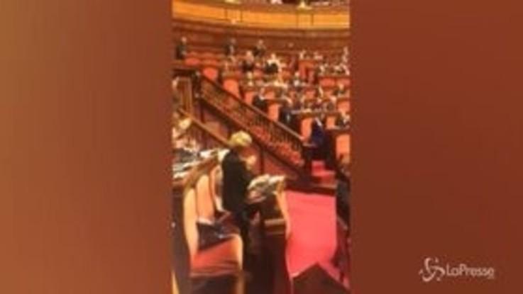 Al Senato l'ovazione per Liliana Segre ma il centrodestra resta seduto in silenzio