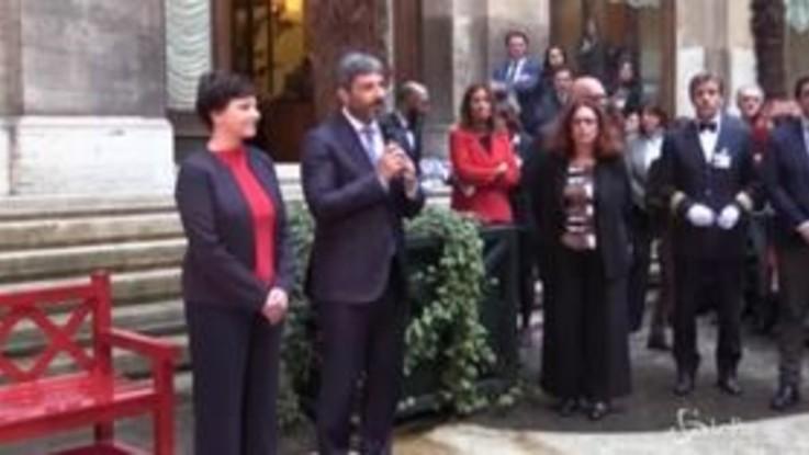 Violenza sulle donne, panchina rossa nel Cortile di Montecitorio