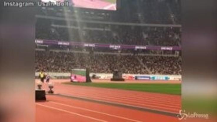 Tokyo, Usain Bolt inaugura lo stadio dei Giochi Olimpici del 2020
