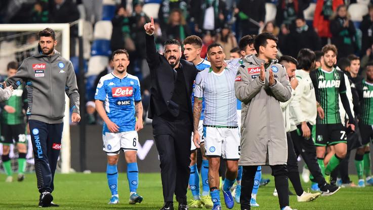 Cuore e grinta, il Napoli ribalta il Sassuolo. Prima vittoria per Gattuso