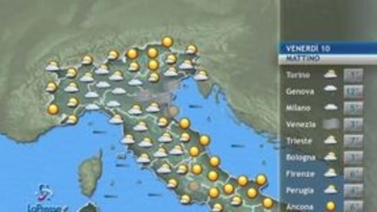 Le previsioni meteo per venerdì 10 gennaio