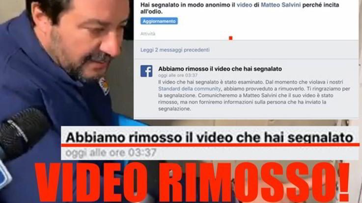 Facebook ha rimosso il video di Matteo Salvini al citofono
