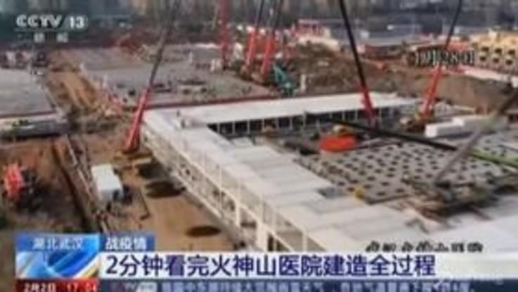 Coronavirus, la costruzione dell'ospedale di Wuhan in timelapse