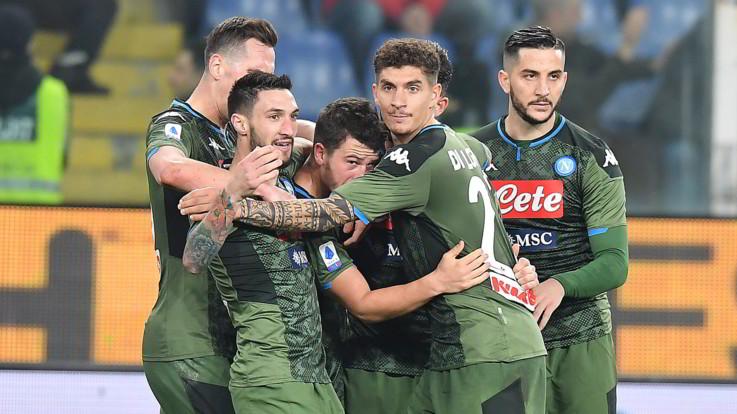Serie A: il Napoli fa poker a Marassi e sente aria d'Europa. Quagliarella show