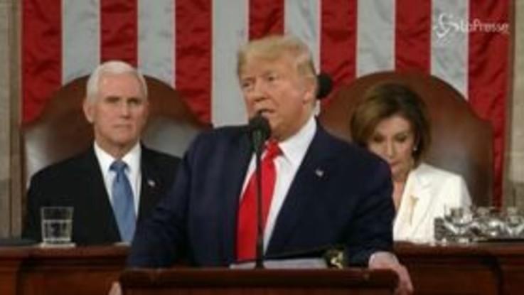 """Stato dell'Unione, Trump: """"Abbiamo respinto il ridimensionamento del destino degli Usa"""""""