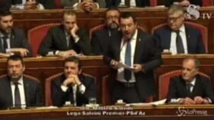 """Gregoretti, Salvini in Senato: """"Usciamo dall'aula, decida un giudice se sono un pericoloso criminale"""""""