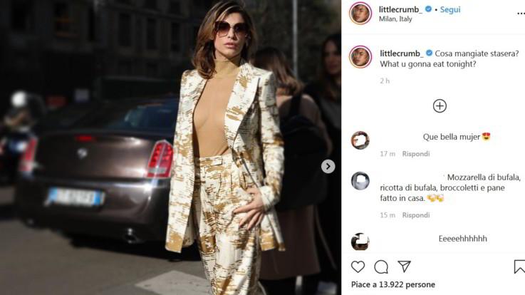 Elisabetta Canalis da urlo alla Milano fashion week, il body non nasconde il suo seno