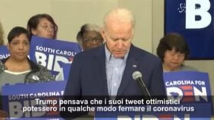 """Primarie dem, Biden: """"Notizia per Trump, il coronavirus non si fa impressionare dai suoi tweet"""""""