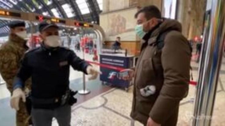 Coronavirus, a Milano iniziano i controlli in Stazione Centrale