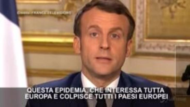 """Coronavirus, Macron parla alla Francia: """"Più grave crisi sanitaria da un secolo"""""""