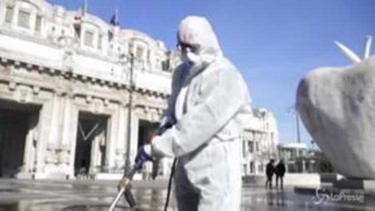 Coronavirus, cominciata la sanificazione delle strade a Milano