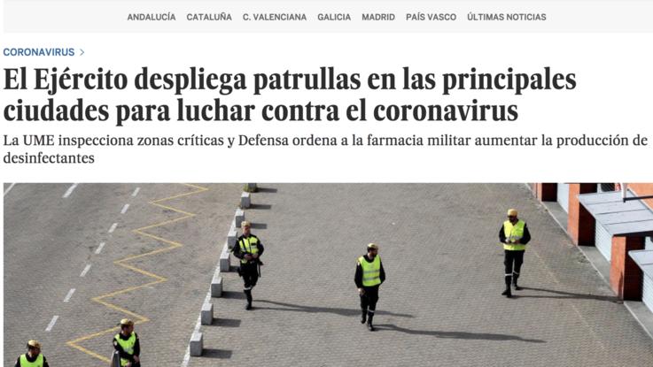 Coronavirus, Spagna schiera esercito per evitare assembramenti