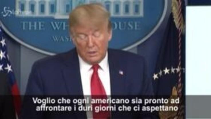"""Coronavirus, Trump: """"Ci aspettano un paio di settimane molto dolorose"""""""
