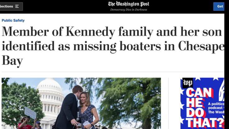 USA, scompare in mare una nipote di Bob Kennedy e il figlioletto di 8 anni