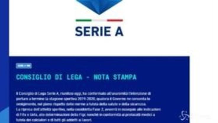 Serie A, governo frena su ripartenza