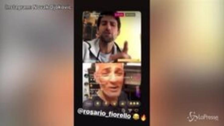 """Novak Djokovic, sipiaretto social con Fiorello sulle note di """"Terra promessa"""""""