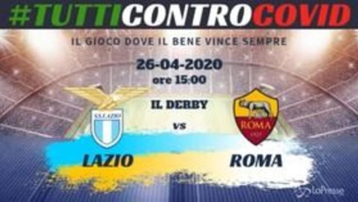 Calcio, Derby Roma-Lazio virtuale per raccolta fondi