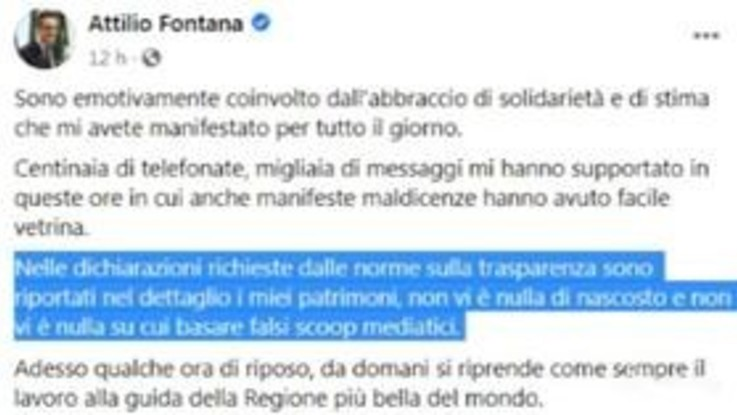 """Fontana: """"Su miei patrimoni nulla di nascosto"""""""