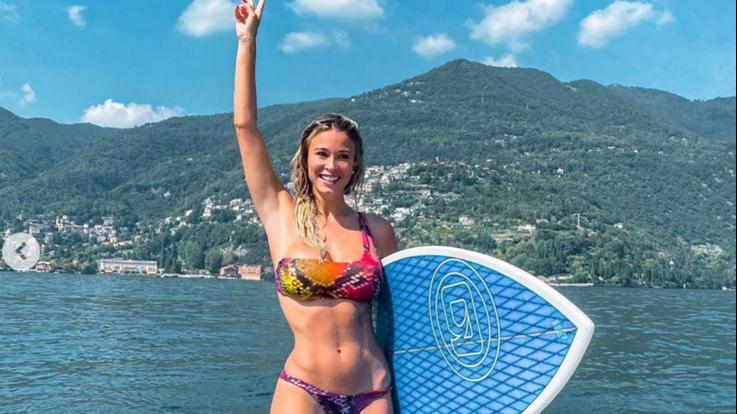 sexy-instagram, Diletta Leotta sul wakeboard. Lago di Como in subbuglio