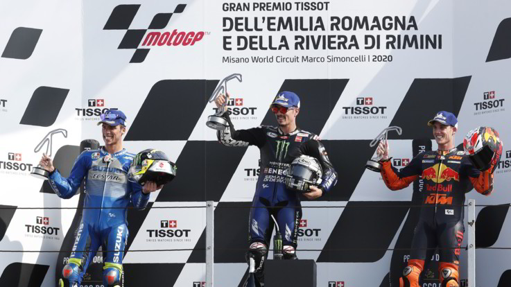 GP Emilia-Romagna, Viñales vince davanti a Mir. Fuori Rossi e Bagnaia