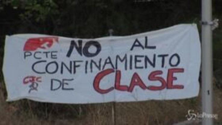 """Madrid, proteste contro il """"lockdown di classe"""""""