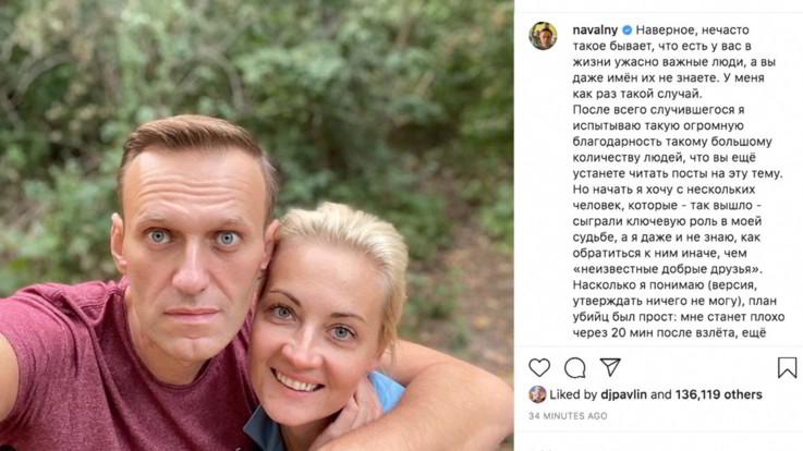 Navalny ringrazia i medici che lo hanno curato a Berlino