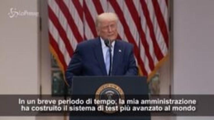 """Covid, Trump: """"Abbiamo sistema di test più avanzato al mondo"""""""