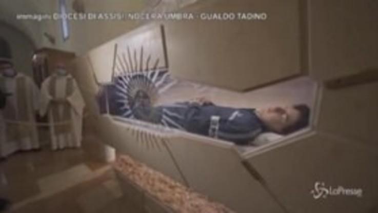 Assisi, Carlo Acutis beato: il suo corpo esposto per i pellegrini