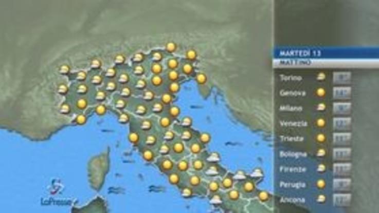 Meteo, le previsioni di martedì 13 ottobre