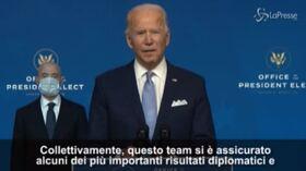 """Biden: """"Con il nostro team l'America sarà al sicuro""""   VIDEO"""