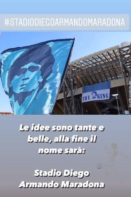 "De Magistris su Instagram: ""Sarà Stadio Diego Armando Maradona"" - LaPresse"