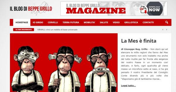 """Mes, Beppe Grillo: """"Strumento inadatto e inutile per esigenze Paese"""""""