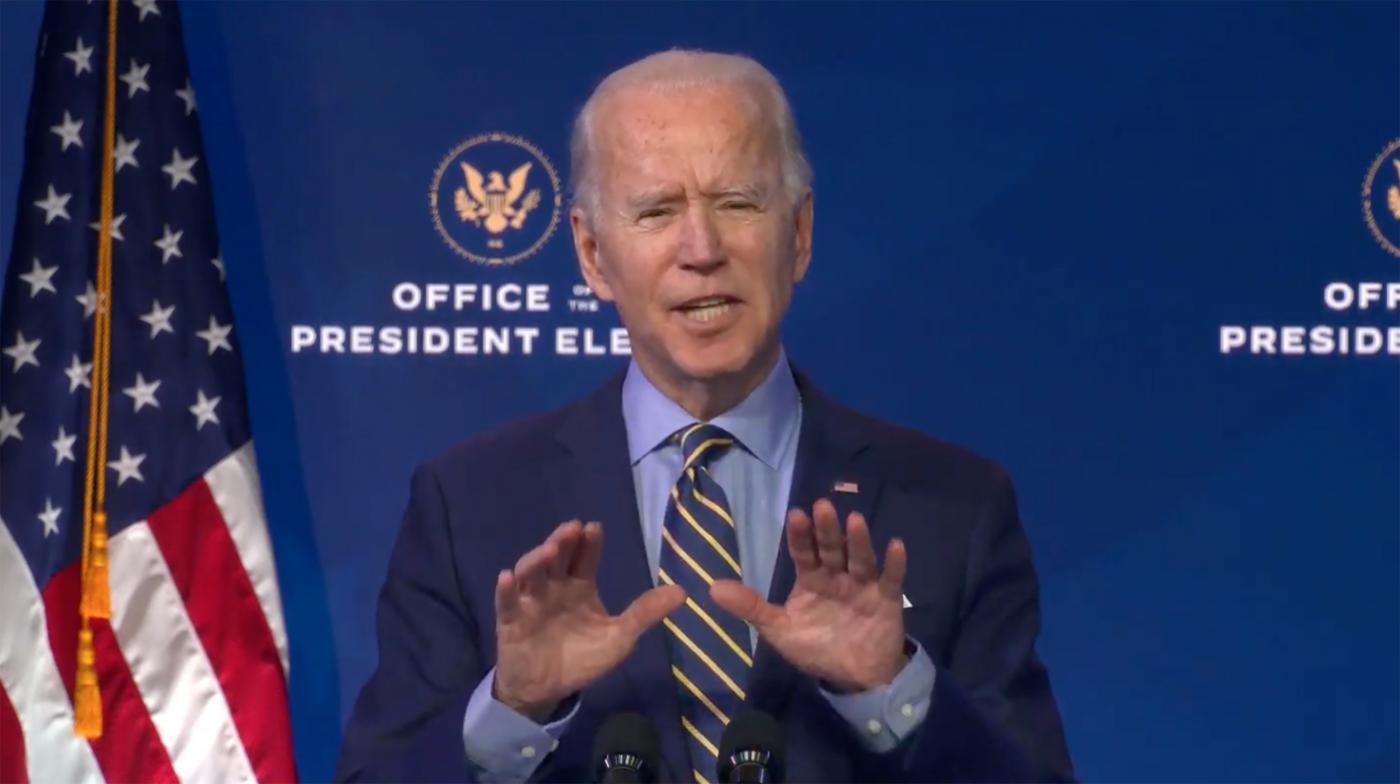 Joe Biden parla in conferenza a Wilmington