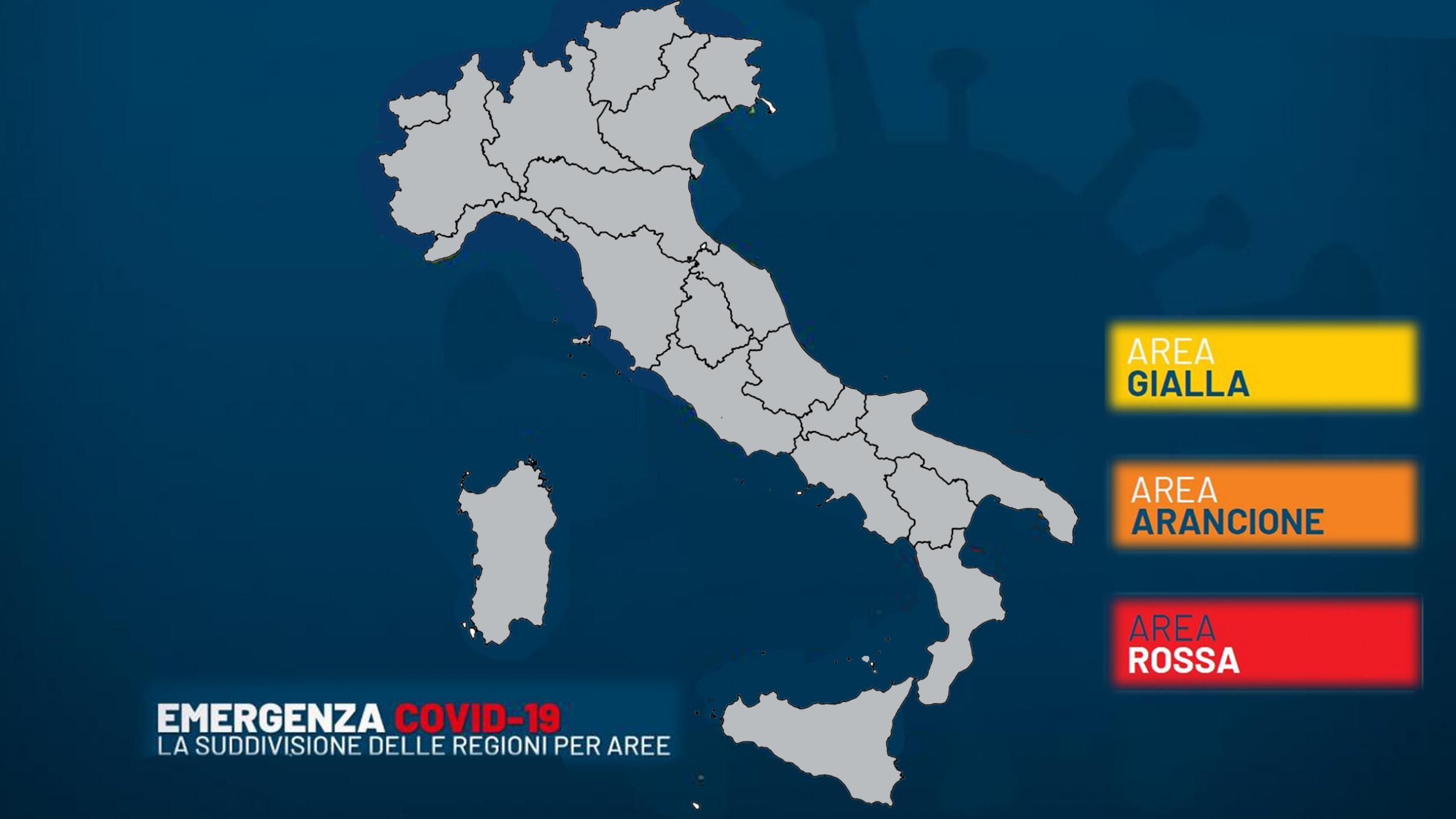 Colori Italia Covid, Area gialla, arancione, rossa