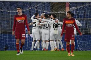 Esultanza Andrej Galabinov. Roma vs Spezia - Coppa Italia - Ottavi di Finale 2020/2021