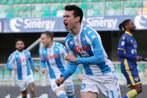 Lozano Hirving esultanza, Hellas Verona vs Napoli - Serie A TIM 2020/2021