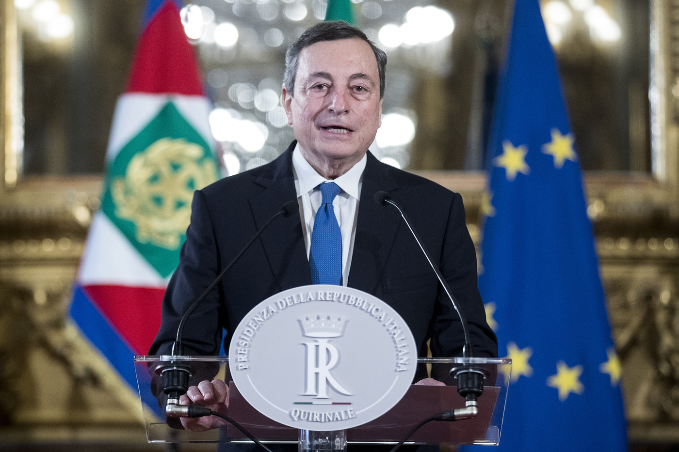 Quirinale - Dichiarazioni del Presidente del Consiglio incaricato Mario Draghi