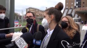 Francesca Fioretti dopo l'udienza del processo per la morte dell'allora capitano della Fiorentina