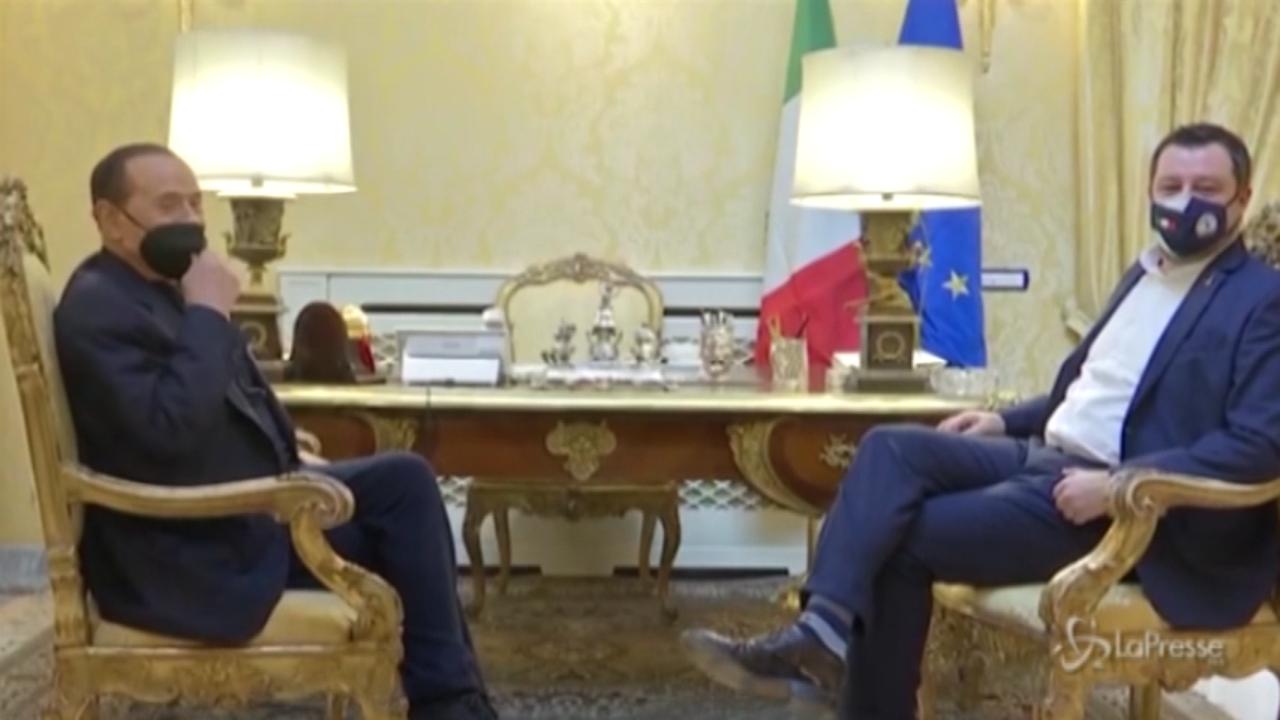 l'incontro tra Berlusconi e Salvini a Villa Grande