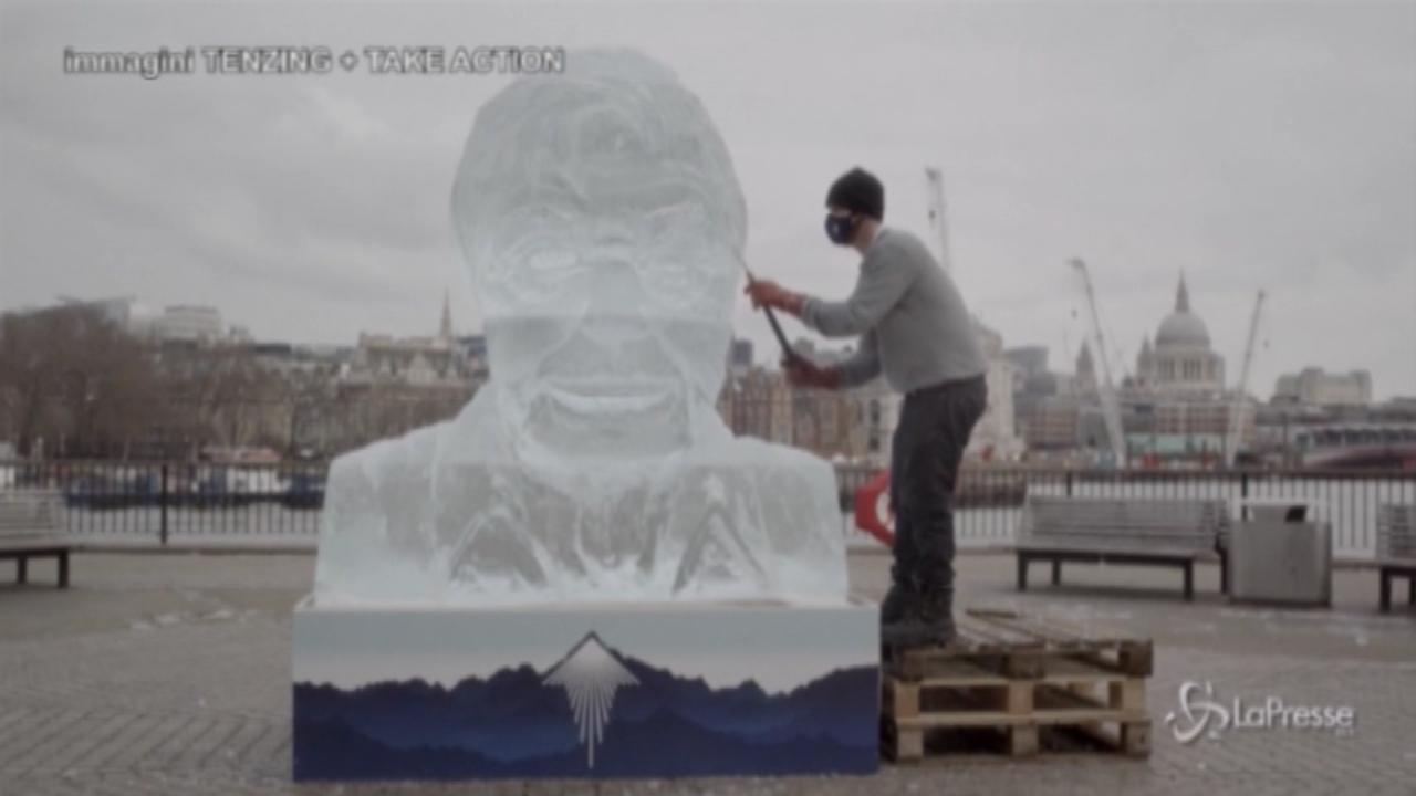 Scultura di ghiaccio con il viso del naturalista Attenborough