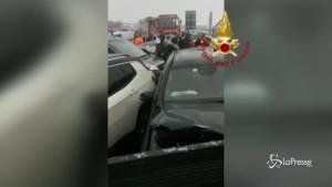 Incidente sulla A32: decine le macchine accartocciate