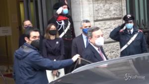 L'arrivo di Draghi in Senato